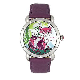 Bertha Vivica MOP Leather-Band Ladies Watch - Silver/Fuchsia