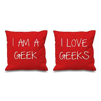 I Am A Geek I Love Geeks Red Cushion Covers 16