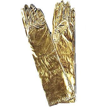 Rukavice lakeť kovové zlato