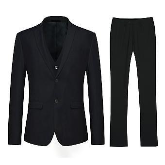 Allthemen Men's Korean Version Two-Button Slim No Split 3-Piece Suit