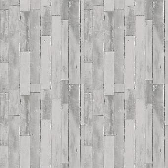 3D effet bois revêtement papier peint gris planche en détresse planche coller le mur P + S