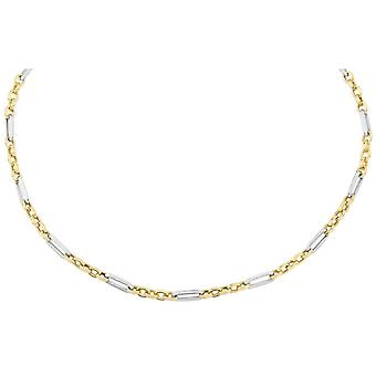 Mark Milton Circle and Oval Link Necklace - Yellow Gold/Silver