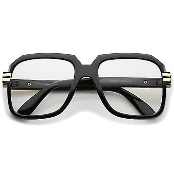 Large Chunky Metal Accented Temples Clear Lens Square Glasses 55mm