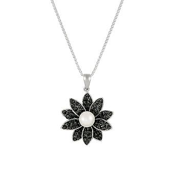 Eternal Collection Gardenia AAA Akoya Pearl And Black CZ Sterling Silver Pendant Necklace