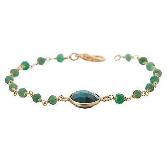 Gemshine Armband mit tiefgrünen Smaragd Edelsteinen in 925 Silber oder vergoldet