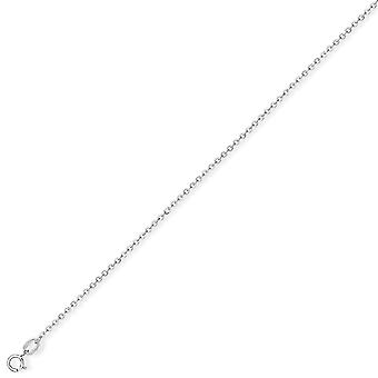 Jewelco London 9ct White Gold - Fine Trace Pendant Chain Necklace - 1.2mm gauge
