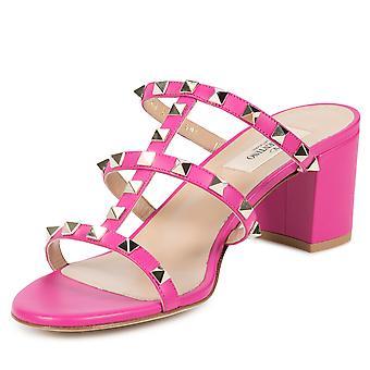 Valentino Rockstud Sandals in Bright Fuchsia