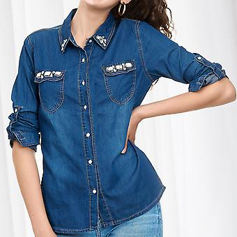Womens Denim Shirt Jeans blouse with Rhinestone Glitter Stones Top 100% Cotton
