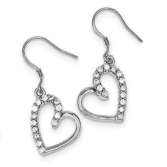 925 Sterling Silver Open Bungelen gepolijst herder haak Rhodium verguld CZ Cubic Zirconia Gesimuleerde Diamond Love Heart Ear