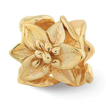 925 Sterling Silver 14k Ouro Banhado Reflexos Plumeria Floral Bead Charm Pingente Pingente Joias para Mulheres
