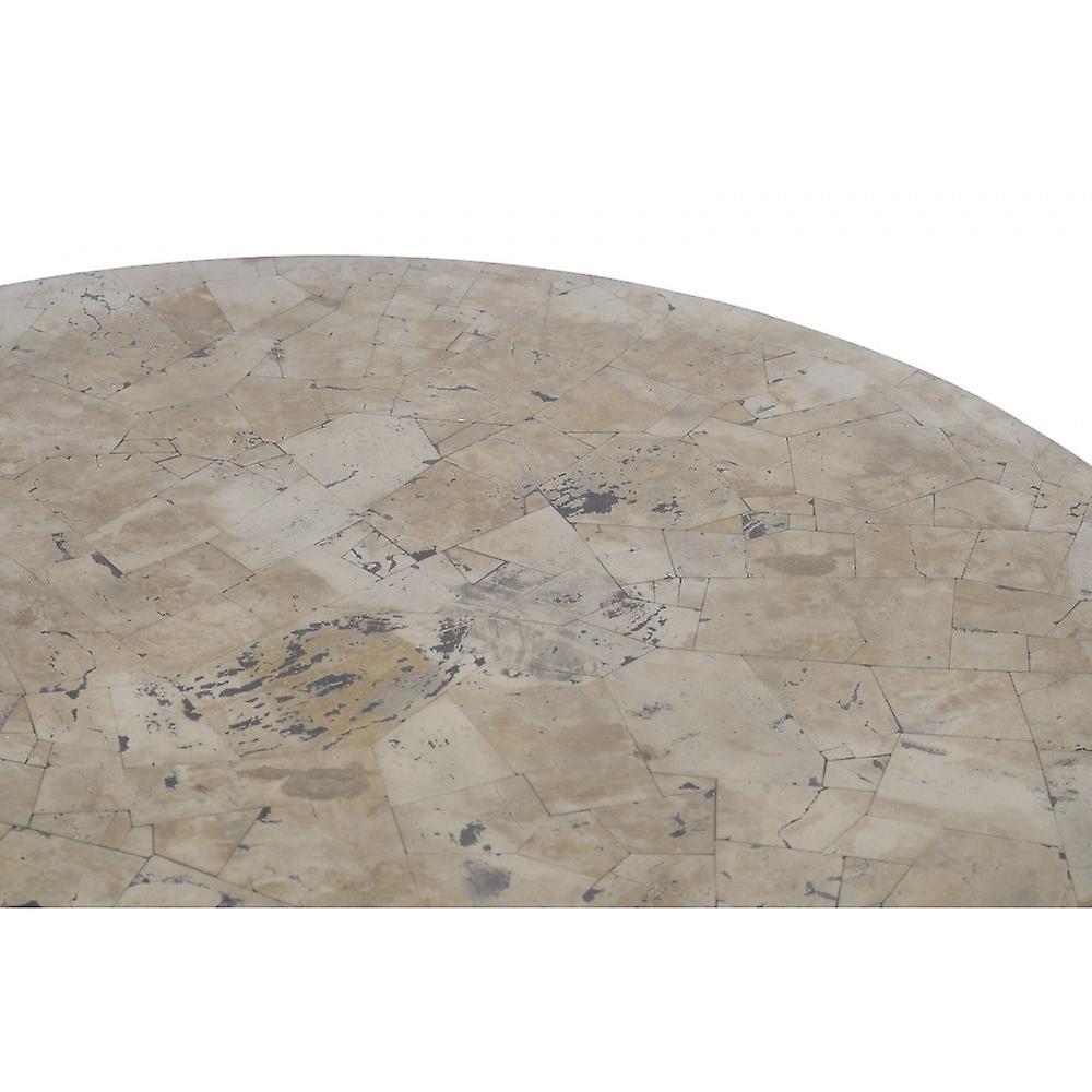Libra Furniture Golden Metallic And Black Circular Side Table