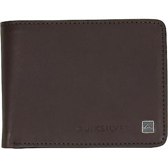 Quiksilver Mens Mack IX RFID Tri Fold Medium Leather Wallet - Chocolate Brown
