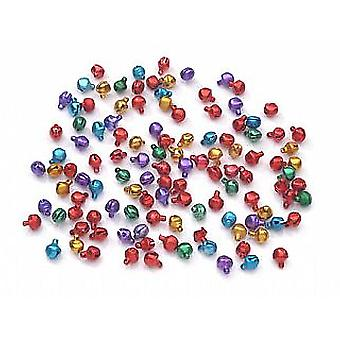 100 Assorted Colour 6mm Mini Jingle Bells for Crafts | Craft Bells