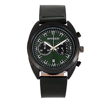 Breed Racer Chronograph Leather-Band Watch w/Date - Black/Green