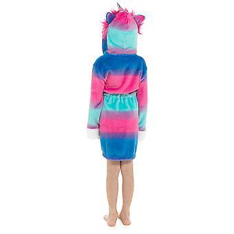 Girls Hooded Unicorn Design Soft Fleece Dressing Gown Nightwear Bathrobe