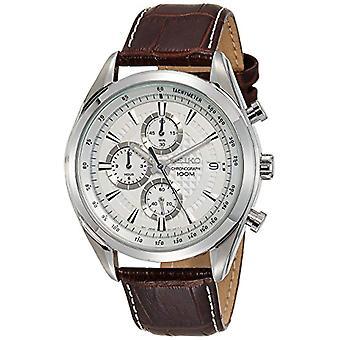 Montre Seiko quartz chronographe homme avec bracelet en cuir SSB181P1