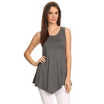 Women's Sleeveless Shirt Handkerchief Hem Tunic