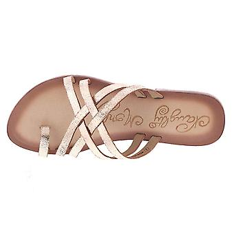 Naughty Monkey Womens Rose Gold Cross Sandal