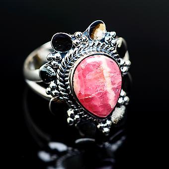 Rhodochrosite Ring Size 9 (925 Sterling Silver)  - Handmade Boho Vintage Jewelry RING979494