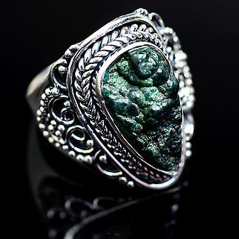 Blister Malachit ring størrelse 7 (925 sterling sølv)-håndlavede Boho vintage smykker RING980811
