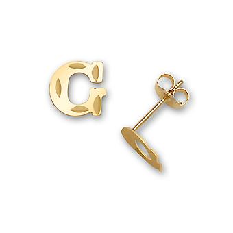 14k Yellow Gold Letter Name Personalized Monogram Initial G Stamping for boys or girls Earrings Measures 6x7mm