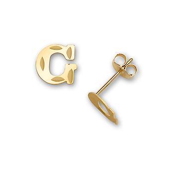 14k sárga arany levél neve személyre szabott monogram kezdeti g bélyegzés a fiúk vagy lányok fülbevaló intézkedések 6x7mm