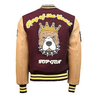 Top Gun King Wool PU Bomber Jacket Burgundy