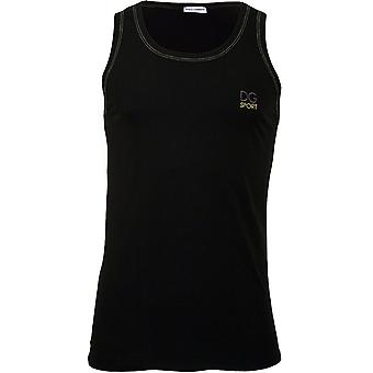 Dolce & Gabbana DG Sport Embroidery Pima Cotton Stretch Gym Vest, Black