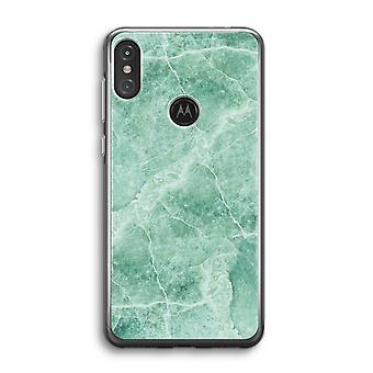 Motorola Moto One Power (P30 Note) Transparent Case (Soft) - Marbre vert