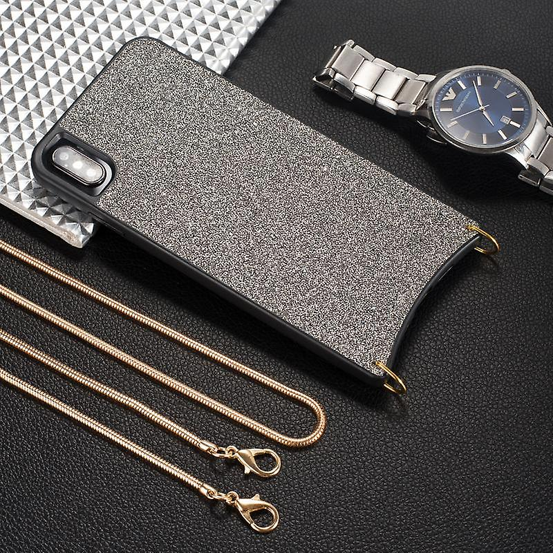 CaseGate phone chain for Apple iPhone XS Max phone chain case cover - Necklace case with silver design
