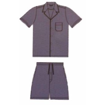 Heren Jockey Short Pyjama Nightwear Pyjama Lounge Wear 51359 - Blauw - Small 34-36 Chest