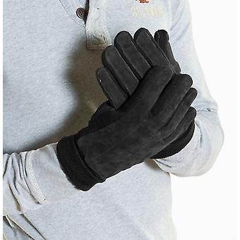 قفازات جلدية الحقيقي رجالي جديدة مع الأسود S/M البطانة الحرارية & الجانبين محبوك & الكفة