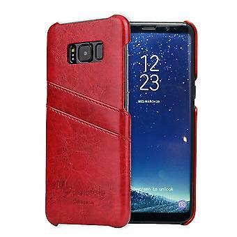 Für Samsung S8 Plus rot Deluxe Leder Flip Wallet Handytasche, Stoßfeste Fall