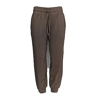 Anybody Women's Petite Pants Cozy Knit Jogger Taupe Beige A286476