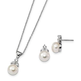 925 Sterling Silver Rh 9 10mm Coin Freshwater Cultured Pearl CZ Cubic Zirconia Simulated Diamond Earrings Necklace Set J