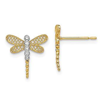 14k Madi K Dragonfly CZ Cubic Zirconia Simulated Diamond Stud Earrings Jewelry Gifts for Women