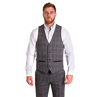 Marc Darcy Scott Grey Check Tweed Vest