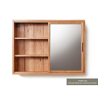 Baumhaus Mobel Oak Baño Colección Solid Oak Mirrored Wall Shelf Unit
