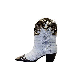 Paris Texas Px144xcgpnbianconero Women's Light Blue/pink Leather Ankle Boots