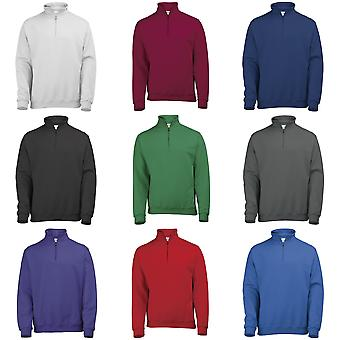 Awdis Mens Plain tweedejaars ¼ Zip sweater