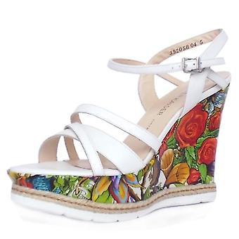Peter Kaiser Jenny Women's High Wedge Platform Sandals In White Leather And Unique Print Patent