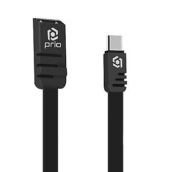 USB to USB Type-C Charge and Sync Cable 1m Flat Silicone- Prio, Black