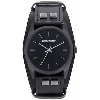 Zadig & Voltaire ZVF601 watch - watch Bracelet leather black case steel black woman