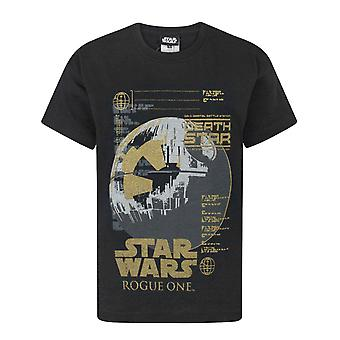 Star Wars Rogue One Metallic Death Star Black Boy's T-Shirt