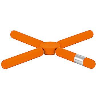 Blomus coasterS KNIK oranje opvouwbare siliconen gecombineerd met roestvrij staal