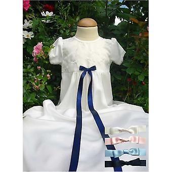 Christening Gown Embroidered Flower Pattern, 4 Free Choices Of Bow