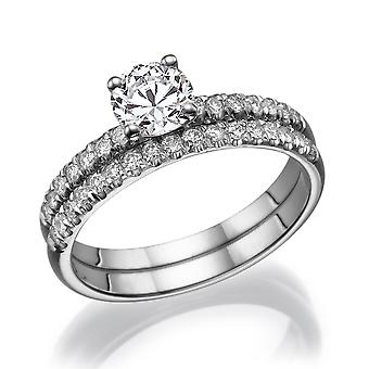1/2 Carat G SI1 Diamond Engagement Ring 14k White Gold Bridal Set Engagement Set Engagement Rings