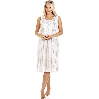 Camille Pink & Grey Floral Pinstriped Sleeveless Nightdress