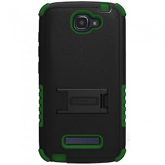 ALCATEL ONE TOUCH FIERCE 2 BEYOND CELL TRI SHIELD CASE - BLACK/GREEN