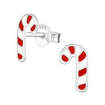 Candy Cane - 925 Sterling Silver Colourful Ear Studs - W990x